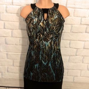 New Directions Chocker Neck Sleeveless Top, Size S